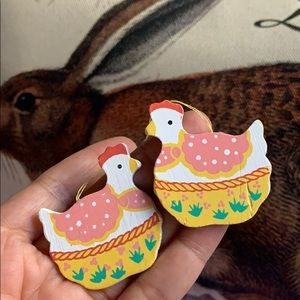 Lot of 2 wooden chicken 🐓 Easter tree ornaments